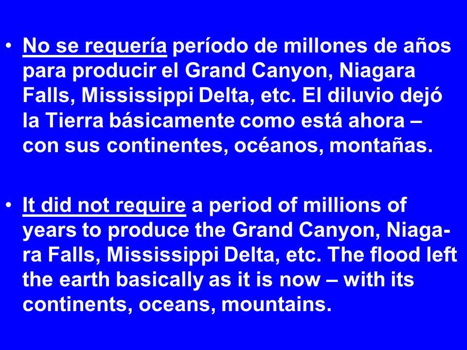 No se requería período de millones de años para producir el Grand Canyon, Niagara Falls, Mississippi Delta, etc. El diluvio dejó la Tierra básicamente