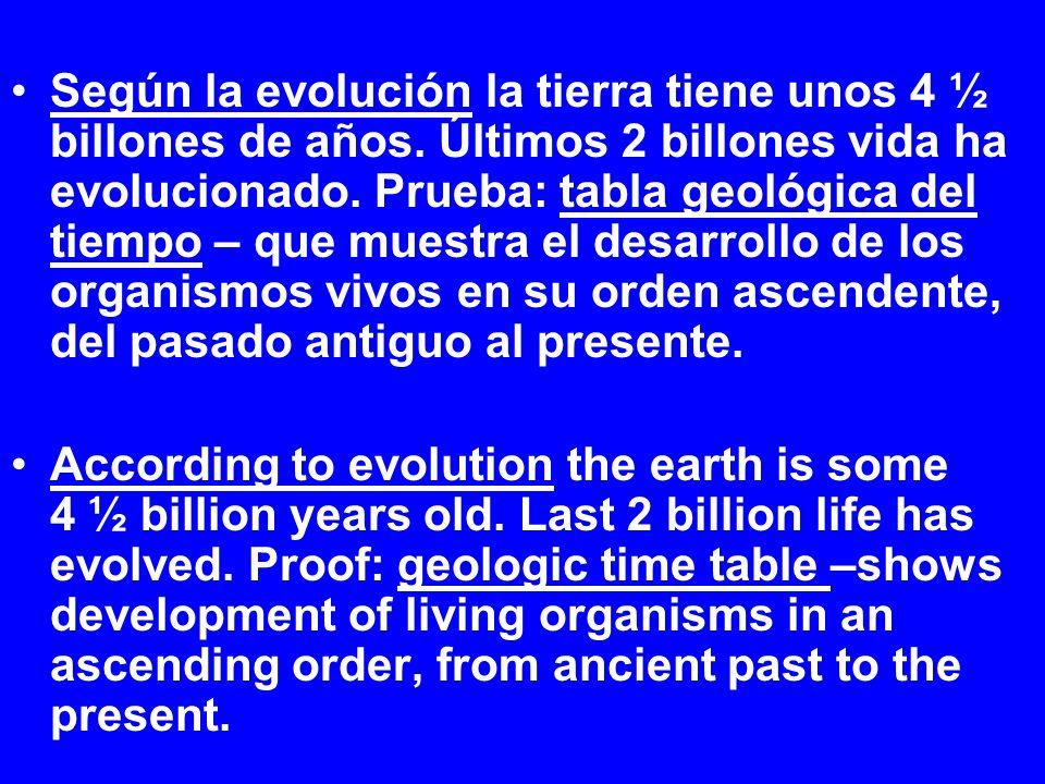 Según la evolución la tierra tiene unos 4 ½ billones de años. Últimos 2 billones vida ha evolucionado. Prueba: tabla geológica del tiempo – que muestr