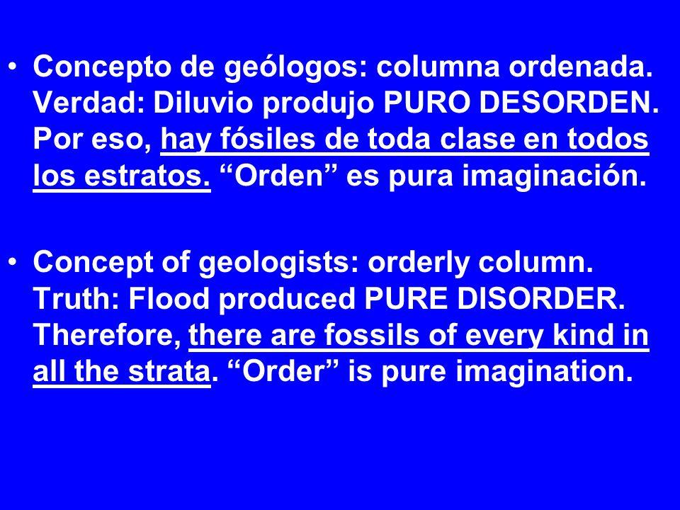 Concepto de geólogos: columna ordenada. Verdad: Diluvio produjo PURO DESORDEN. Por eso, hay fósiles de toda clase en todos los estratos. Orden es pura