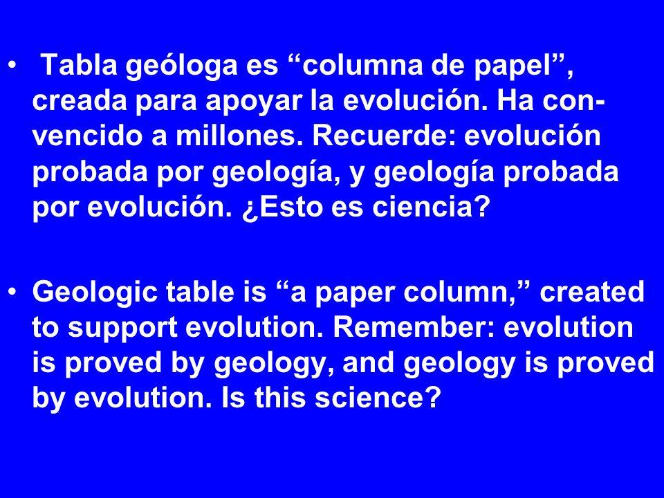 Tabla geóloga es columna de papel, creada para apoyar la evolución. Ha con- vencido a millones. Recuerde: evolución probada por geología, y geología p