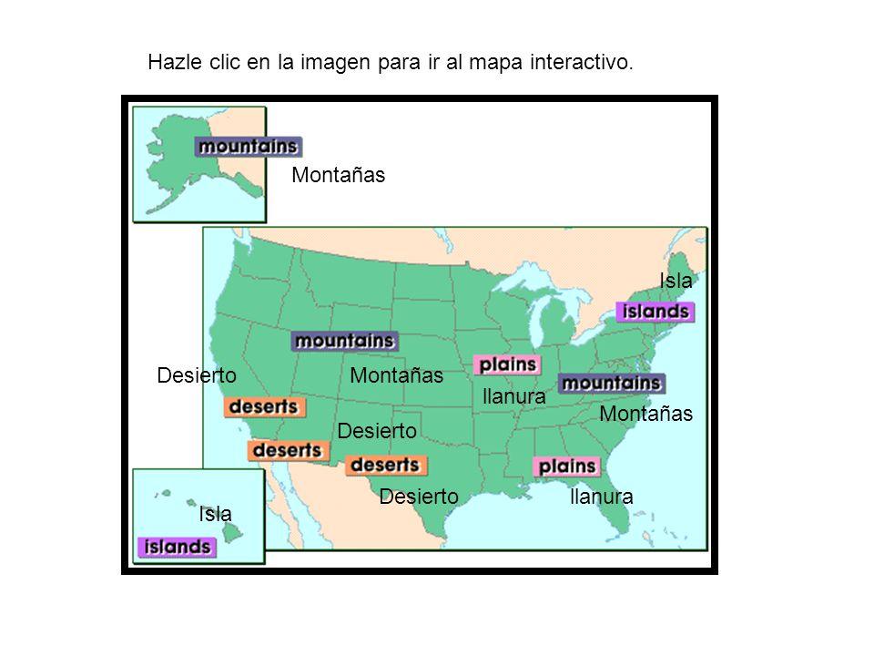 Hazle clic en la imagen para ir al mapa interactivo. Montañas llanura Isla Desierto