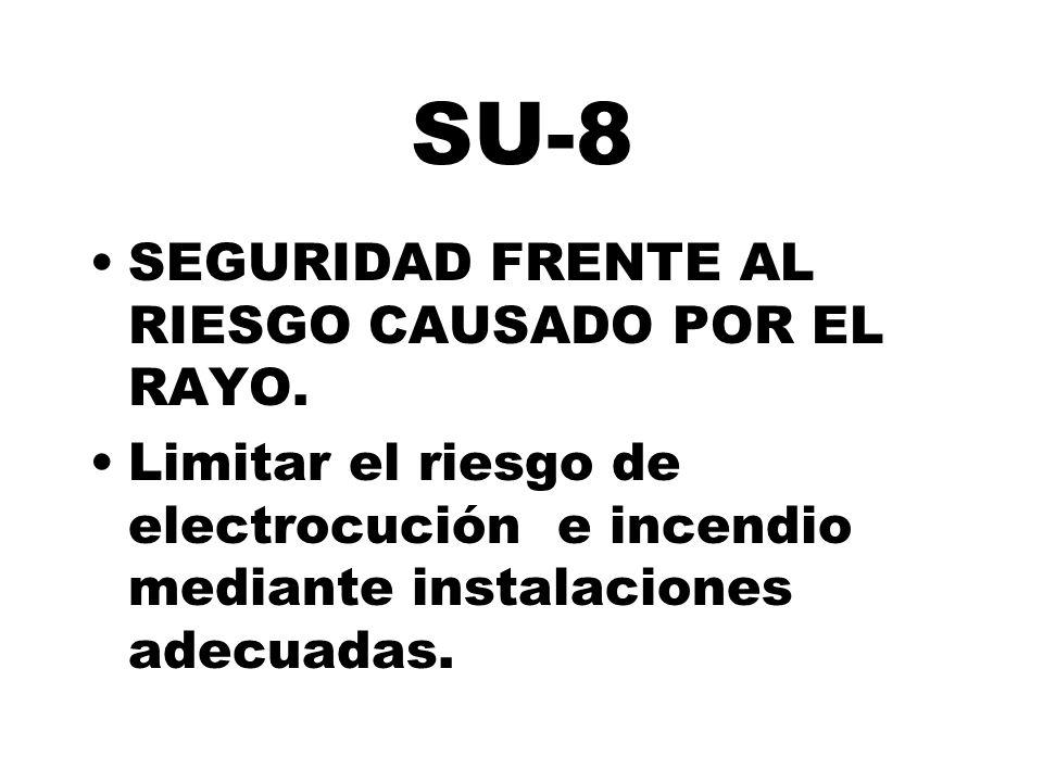 SU-8 SEGURIDAD FRENTE AL RIESGO CAUSADO POR EL RAYO. Limitar el riesgo de electrocución e incendio mediante instalaciones adecuadas.