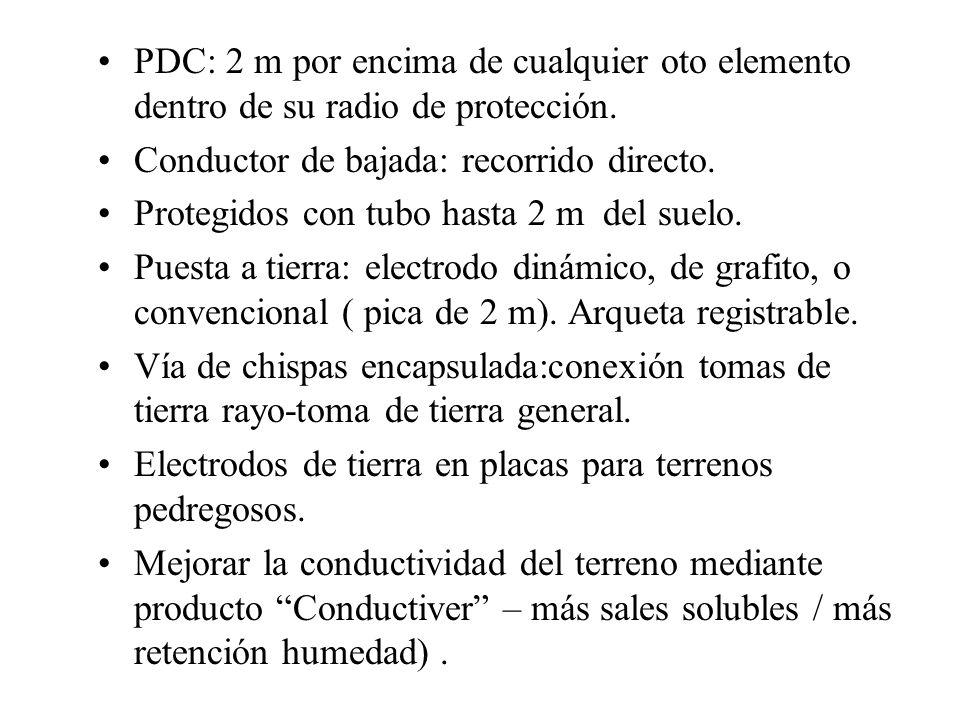 PDC: 2 m por encima de cualquier oto elemento dentro de su radio de protección. Conductor de bajada: recorrido directo. Protegidos con tubo hasta 2 m