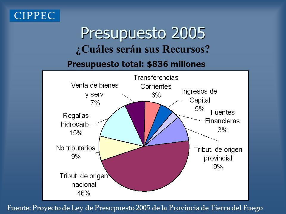 Presupuesto 2005 ¿Cuáles serán sus Recursos? Presupuesto total: $836 millones Fuente: Proyecto de Ley de Presupuesto 2005 de la Provincia de Tierra de