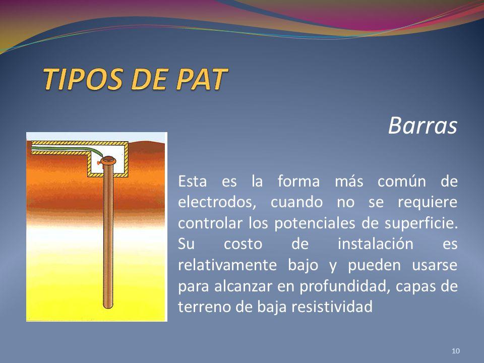 Barras Esta es la forma más común de electrodos, cuando no se requiere controlar los potenciales de superficie.