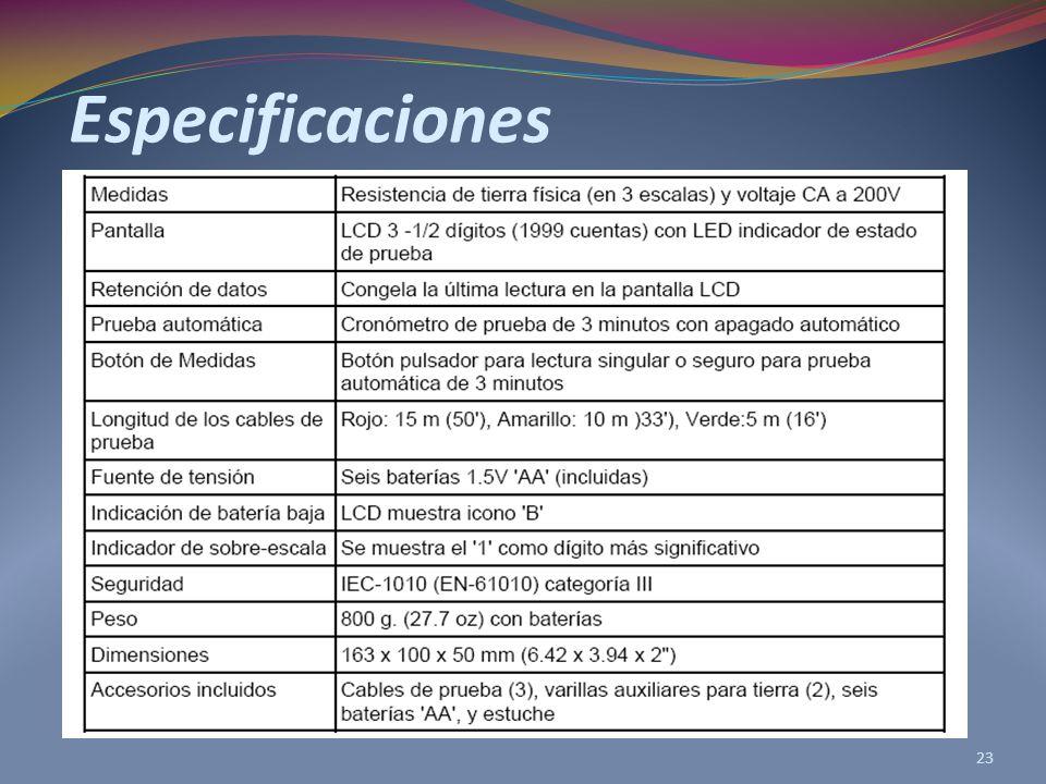 Especificaciones 23
