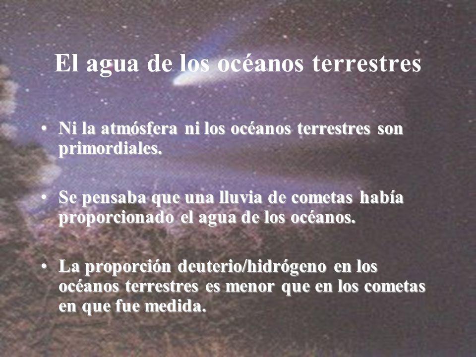 El agua de los océanos terrestres Ni la atmósfera ni los océanos terrestres son primordiales.Ni la atmósfera ni los océanos terrestres son primordiales.