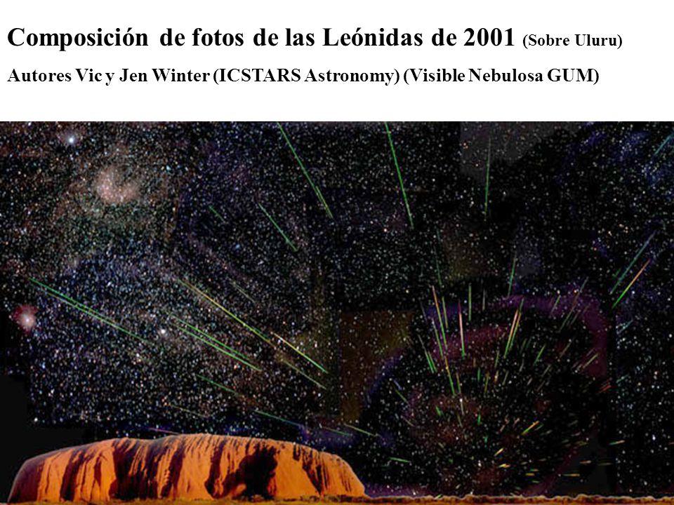Composición de fotos de las Leónidas de 2001 (Sobre Uluru) Autores Vic y Jen Winter (ICSTARS Astronomy) (Visible Nebulosa GUM)