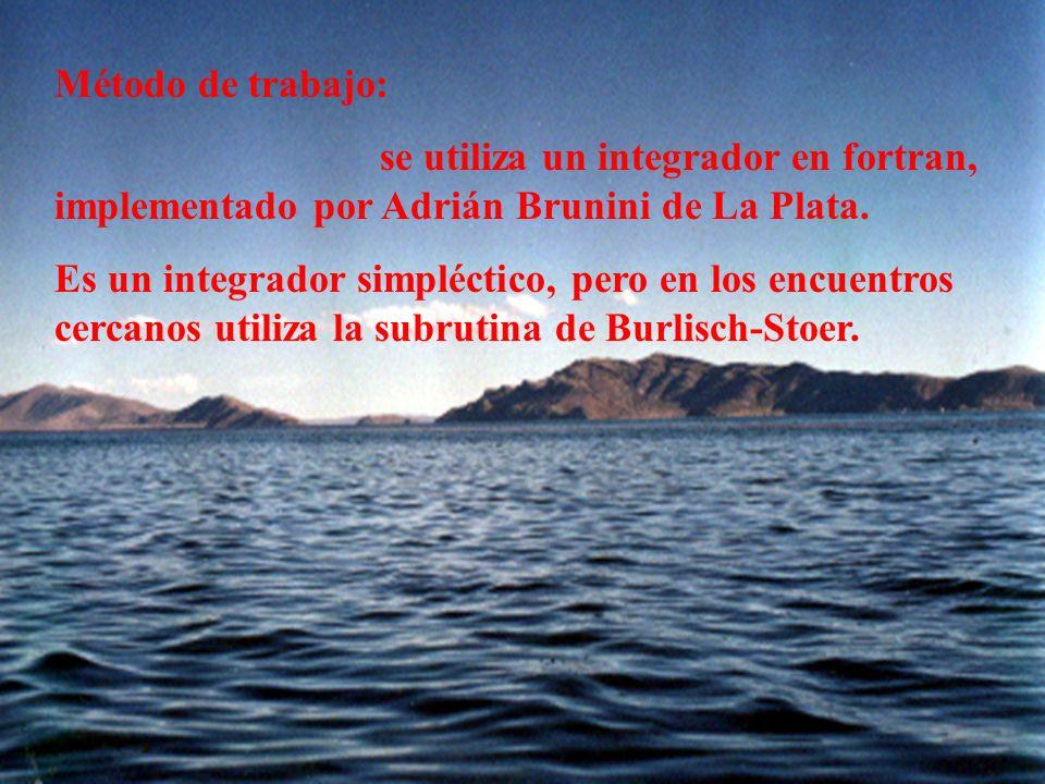 Método de trabajo: se utiliza un integrador en fortran, implementado por Adrián Brunini de La Plata.