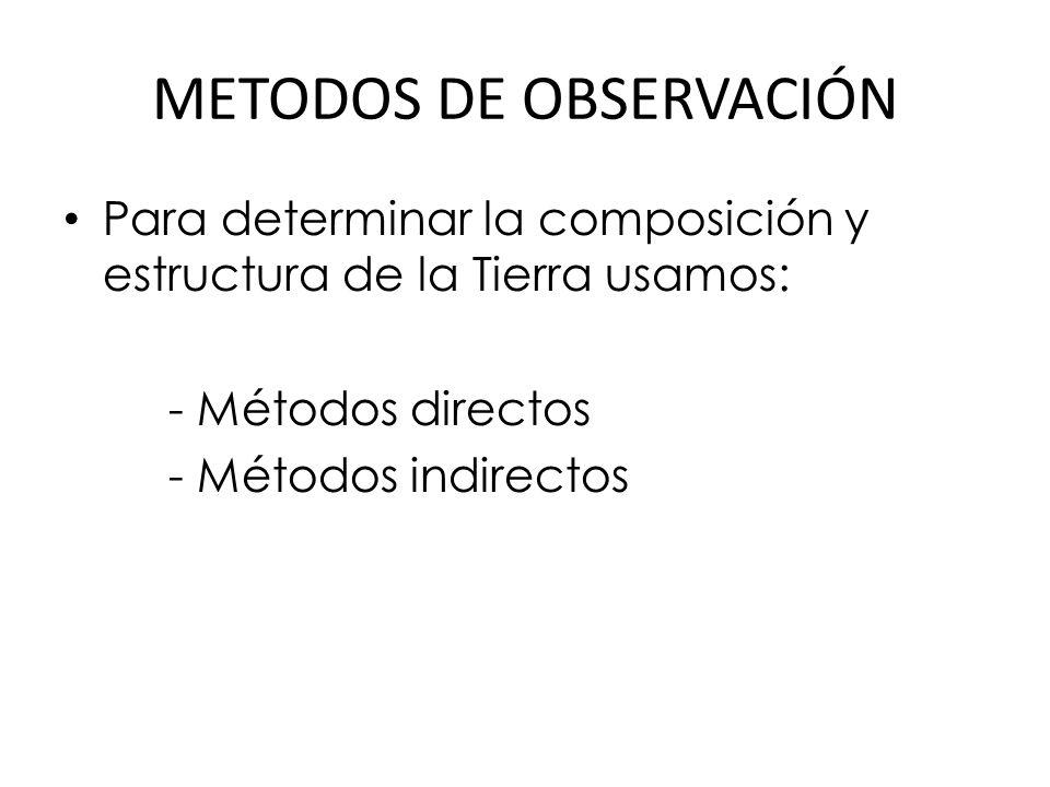 METODOS DE OBSERVACIÓN Para determinar la composición y estructura de la Tierra usamos: - Métodos directos - Métodos indirectos