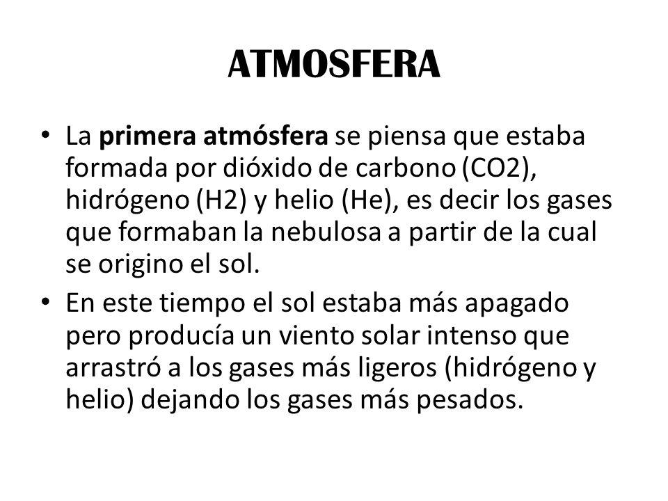 ATMOSFERA La primera atmósfera se piensa que estaba formada por dióxido de carbono (CO2), hidrógeno (H2) y helio (He), es decir los gases que formaban