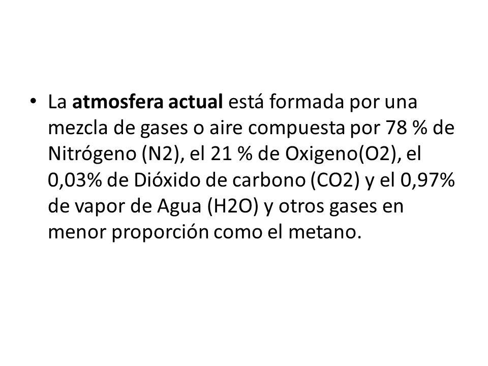 La atmosfera actual está formada por una mezcla de gases o aire compuesta por 78 % de Nitrógeno (N2), el 21 % de Oxigeno(O2), el 0,03% de Dióxido de c