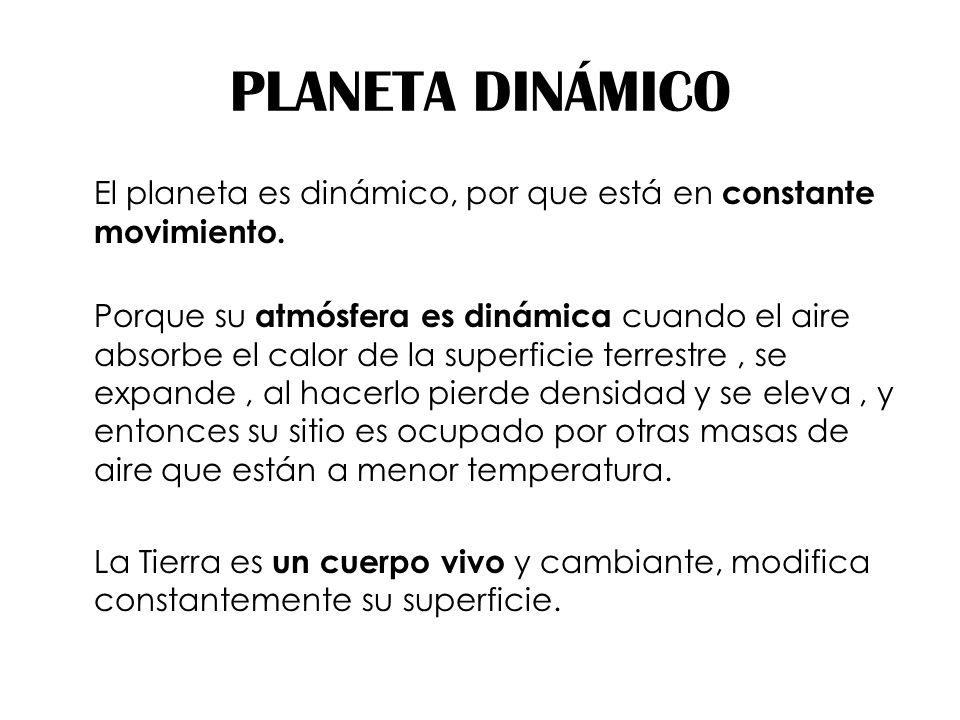 PLANETA DINÁMICO El planeta es dinámico, por que está en constante movimiento. Porque su atmósfera es dinámica cuando el aire absorbe el calor de la s