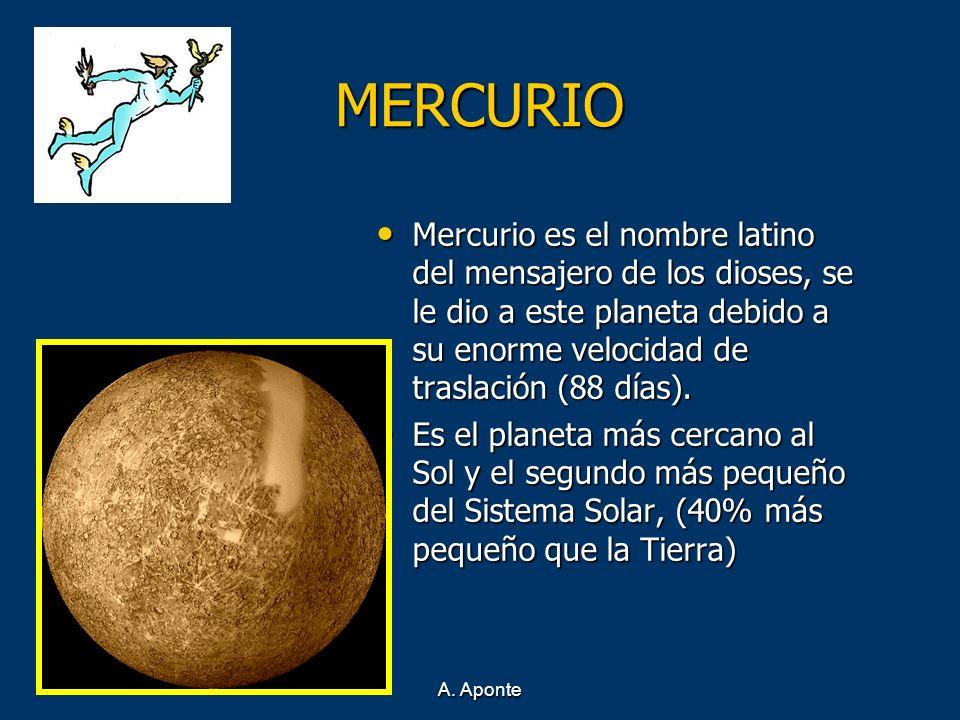 A. Aponte MERCURIO Mercurio es el nombre latino del mensajero de los dioses, se le dio a este planeta debido a su enorme velocidad de traslación (88 d
