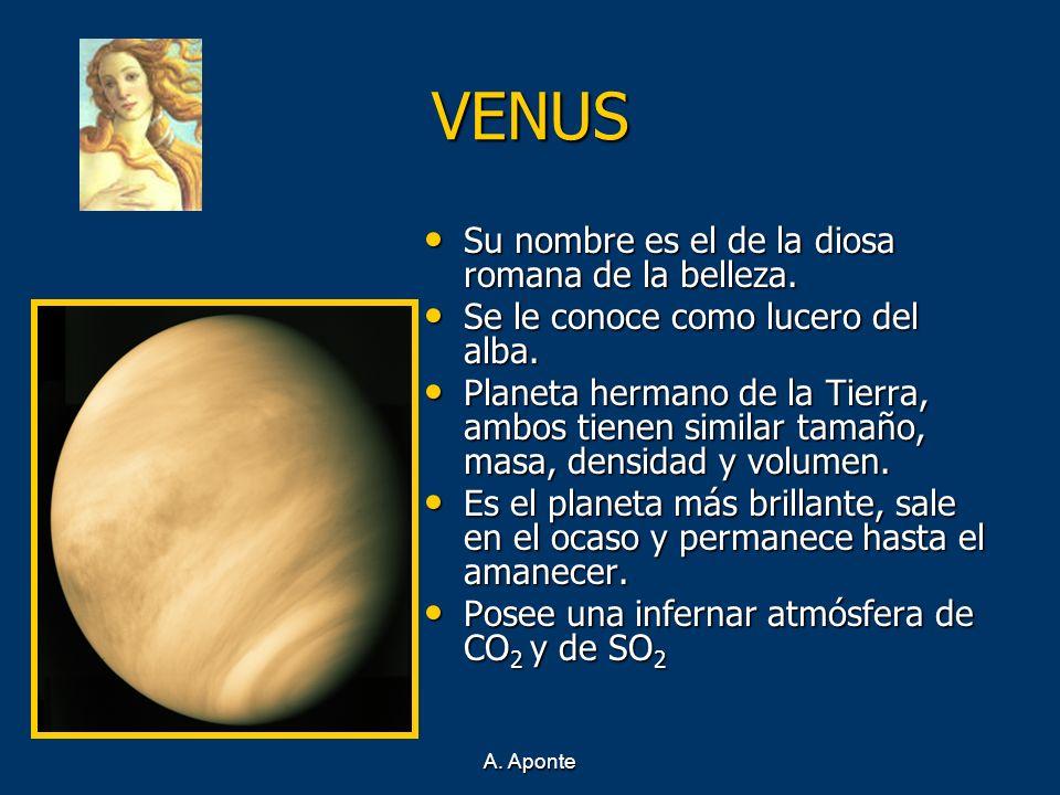 A. Aponte VENUS Su nombre es el de la diosa romana de la belleza. Su nombre es el de la diosa romana de la belleza. Se le conoce como lucero del alba.