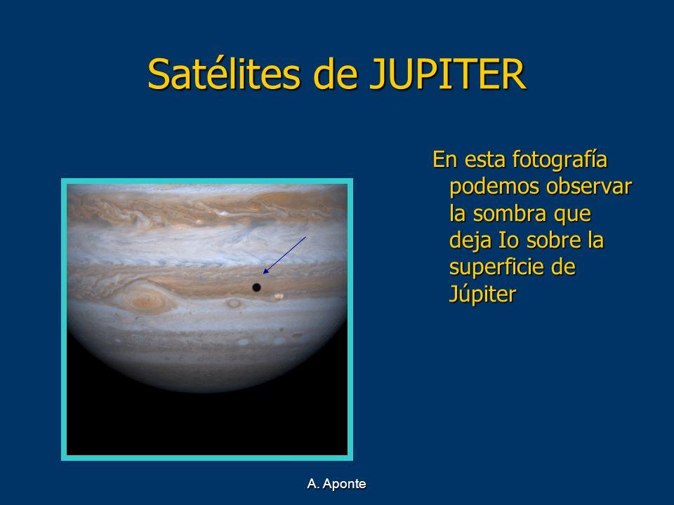 A. Aponte Satélites de JUPITER En esta fotografía podemos observar la sombra que deja Io sobre la superficie de Júpiter