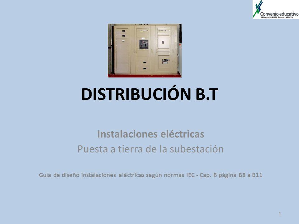 DISTRIBUCIÓN B.T Instalaciones eléctricas Puesta a tierra de la subestación Guía de diseño instalaciones eléctricas según normas IEC - Cap. B página B