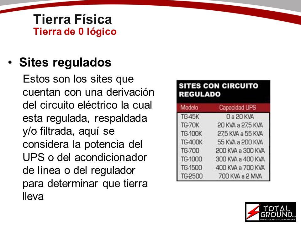 Tierra Física Tierra de 0 lógico Sites regulados Estos son los sites que cuentan con una derivación del circuito eléctrico la cual esta regulada, resp