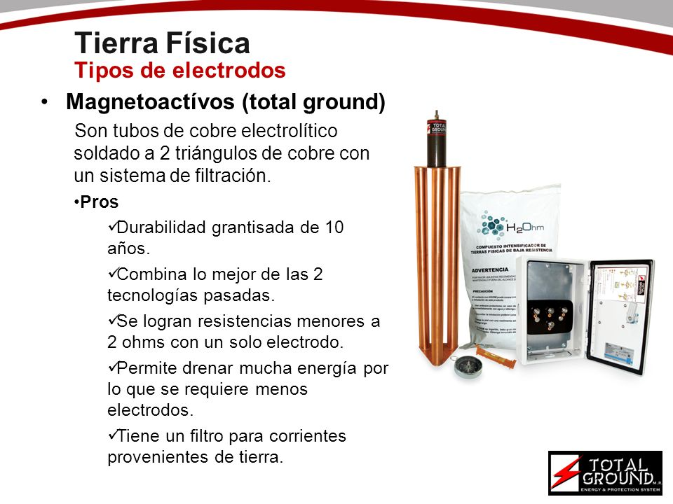 Tierra Física Tipos de electrodos Magnetoactívos (total ground) Son tubos de cobre electrolítico soldado a 2 triángulos de cobre con un sistema de fil