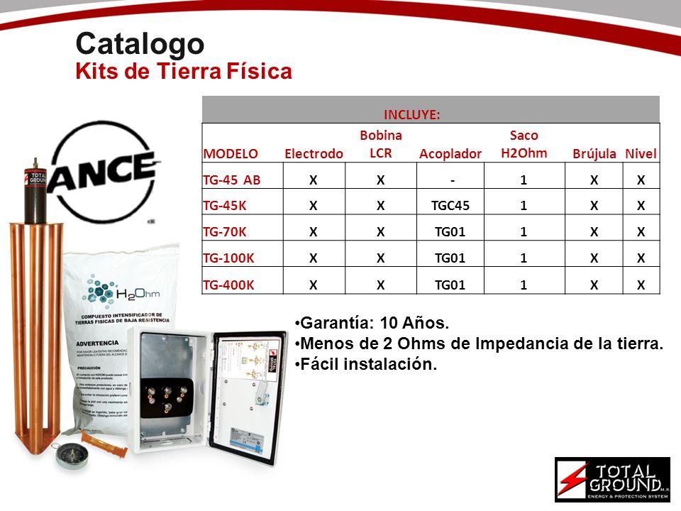 Catalogo Kits de Tierra Física INCLUYE: MODELOElectrodo Bobina LCRAcoplador Saco H2OhmBrújulaNivel TG-45 ABXX -1XX TG-45KXXTGC451XX TG-70KXXTG011XX TG