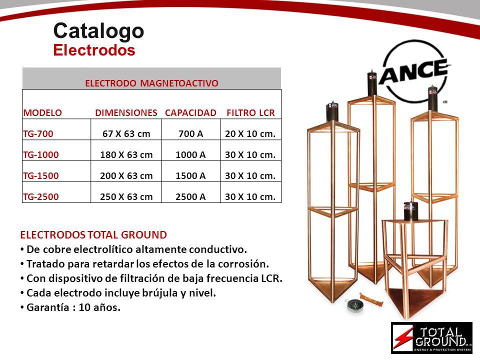 Catalogo Electrodos ELECTRODO MAGNETOACTIVO MODELODIMENSIONESCAPACIDADFILTRO LCR TG-70067 X 63 cm700 A20 X 10 cm. TG-1000180 X 63 cm1000 A30 X 10 cm.