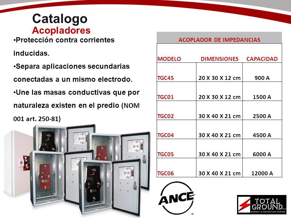 Catalogo Acopladores ACOPLADOR DE IMPEDANCIAS MODELODIMENSIONESCAPACIDAD TGC4520 X 30 X 12 cm900 A TGC0120 X 30 X 12 cm1500 A TGC0230 X 40 X 21 cm2500