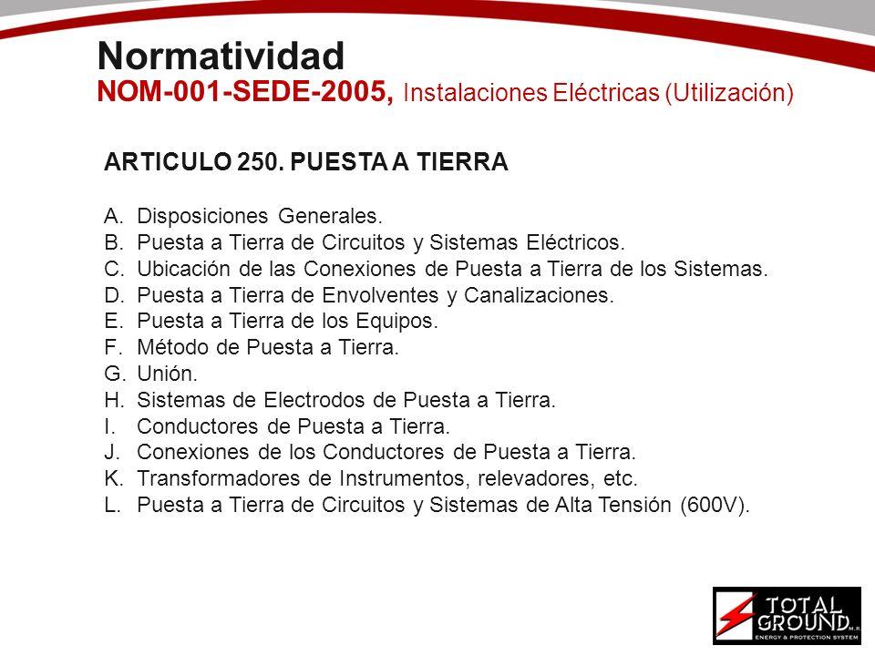 Normatividad NOM-001-SEDE-2005, Instalaciones Eléctricas (Utilización) ARTICULO 250. PUESTA A TIERRA A.Disposiciones Generales. B.Puesta a Tierra de C