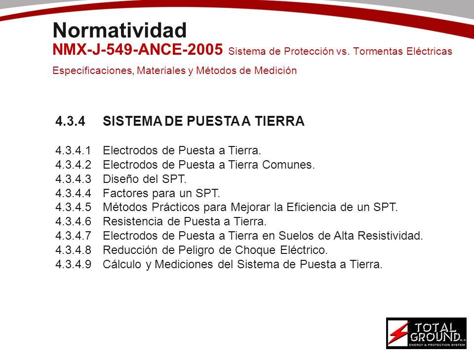Normatividad NMX-J-549-ANCE-2005 Sistema de Protección vs. Tormentas Eléctricas Especificaciones, Materiales y Métodos de Medición 4.3.4SISTEMA DE PUE