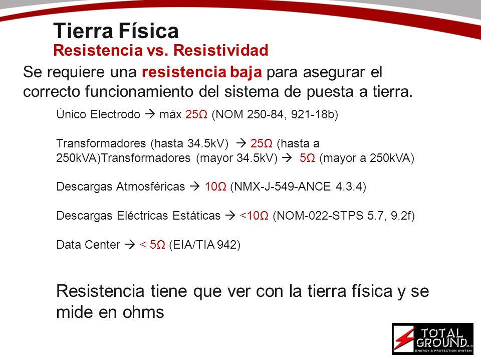 Se requiere una resistencia baja para asegurar el correcto funcionamiento del sistema de puesta a tierra. Único Electrodo máx 25 (NOM 250-84, 921-18b)