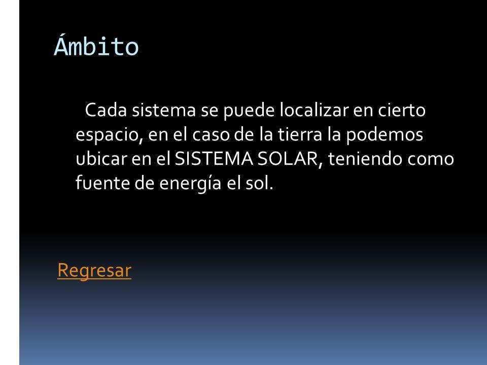 Ámbito Cada sistema se puede localizar en cierto espacio, en el caso de la tierra la podemos ubicar en el SISTEMA SOLAR, teniendo como fuente de energ