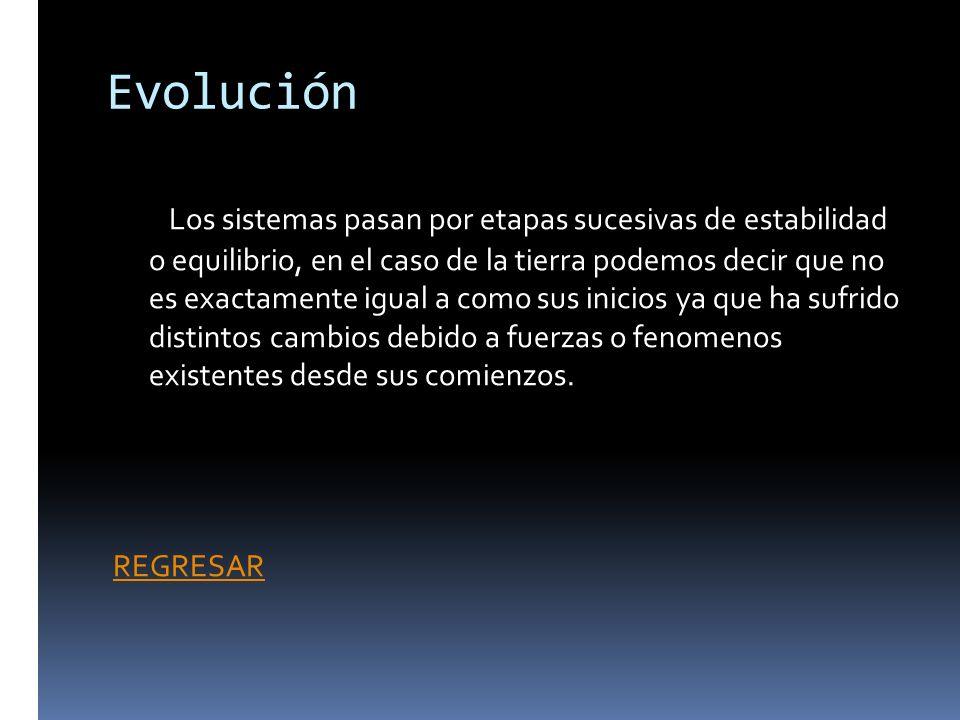 Evolución Los sistemas pasan por etapas sucesivas de estabilidad o equilibrio, en el caso de la tierra podemos decir que no es exactamente igual a com