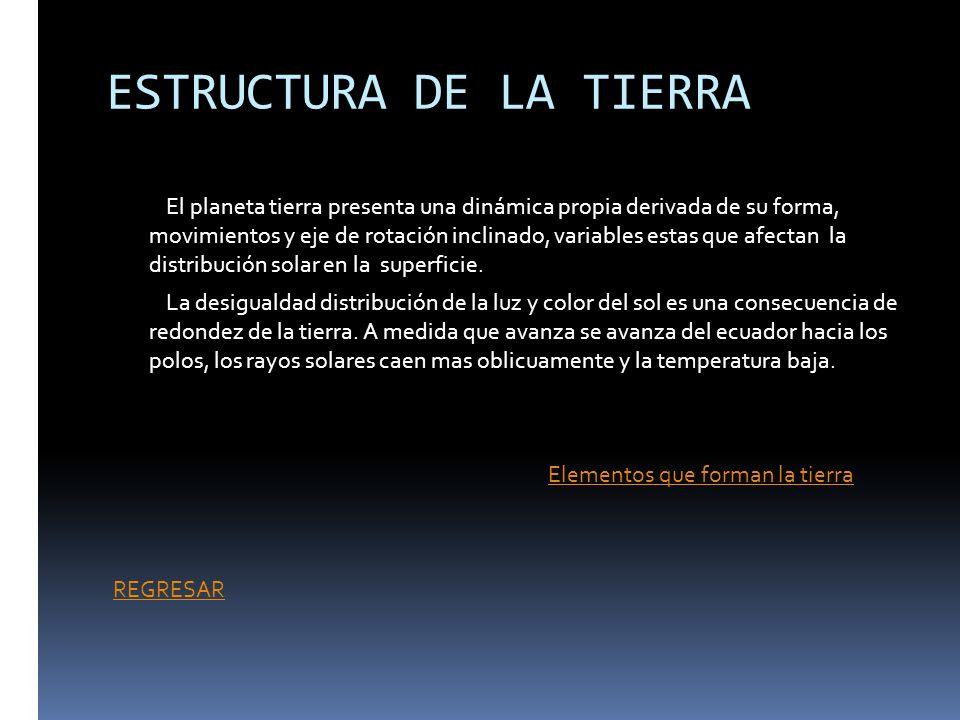 ESTRUCTURA DE LA TIERRA El planeta tierra presenta una dinámica propia derivada de su forma, movimientos y eje de rotación inclinado, variables estas