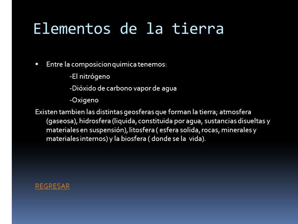Elementos de la tierra Entre la composicion quimica tenemos: -El nitrógeno -Dióxido de carbono vapor de agua -Oxigeno Existen tambien las distintas ge