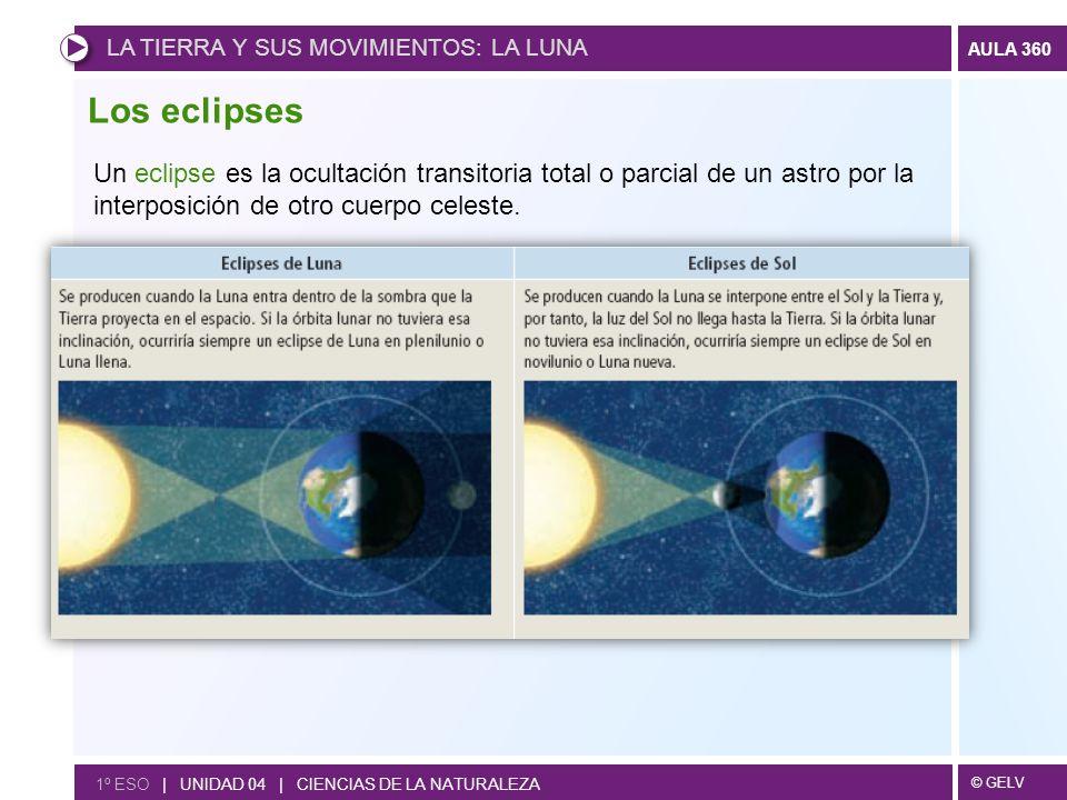 © GELV AULA 360 Los eclipses Un eclipse es la ocultación transitoria total o parcial de un astro por la interposición de otro cuerpo celeste. LA TIERR