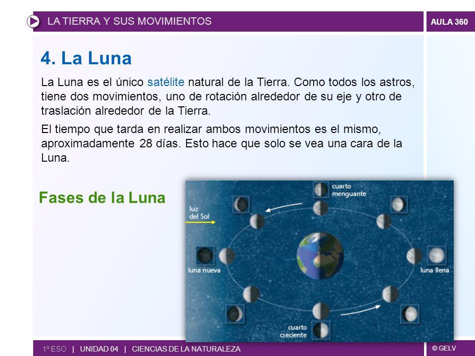 © GELV AULA 360 1º ESO | UNIDAD 04 | CIENCIAS DE LA NATURALEZA 4. La Luna La Luna es el único satélite natural de la Tierra. Como todos los astros, ti
