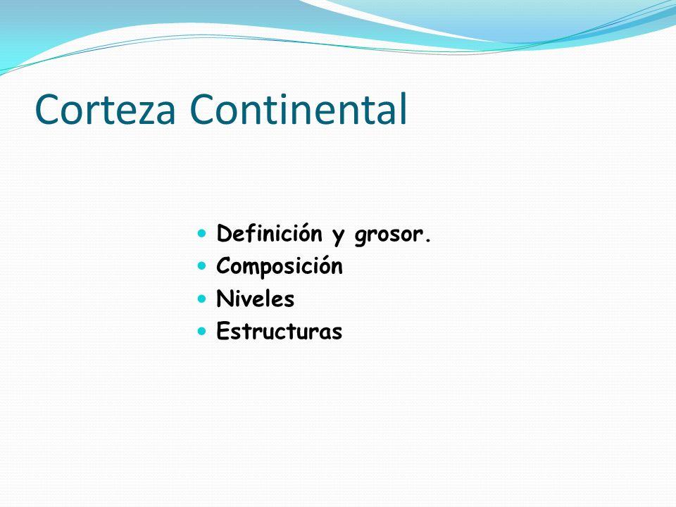 Corteza Continental Definición y grosor. Composición Niveles Estructuras