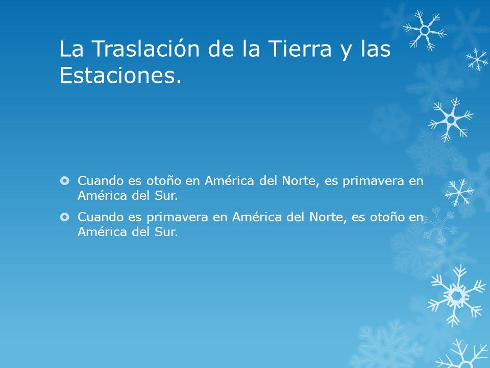 La Traslación de la Tierra y las Estaciones. Cuando es otoño en América del Norte, es primavera en América del Sur. Cuando es primavera en América del