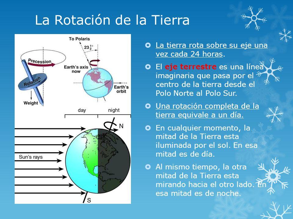 La Rotación de la Tierra La tierra rota sobre su eje una vez cada 24 horas. El eje terrestre es una línea imaginaria que pasa por el centro de la tier