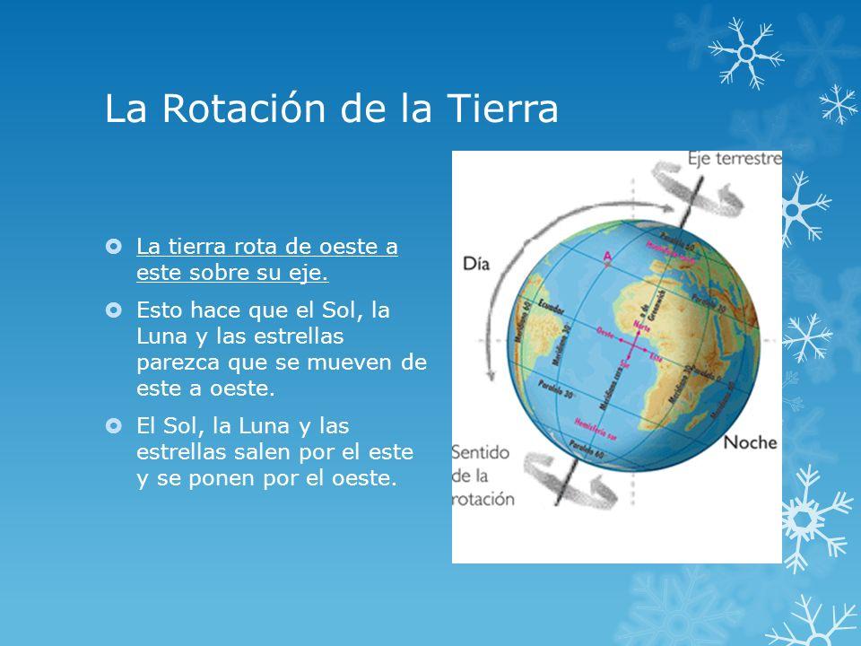 La Rotación de la Tierra La tierra rota de oeste a este sobre su eje. Esto hace que el Sol, la Luna y las estrellas parezca que se mueven de este a oe