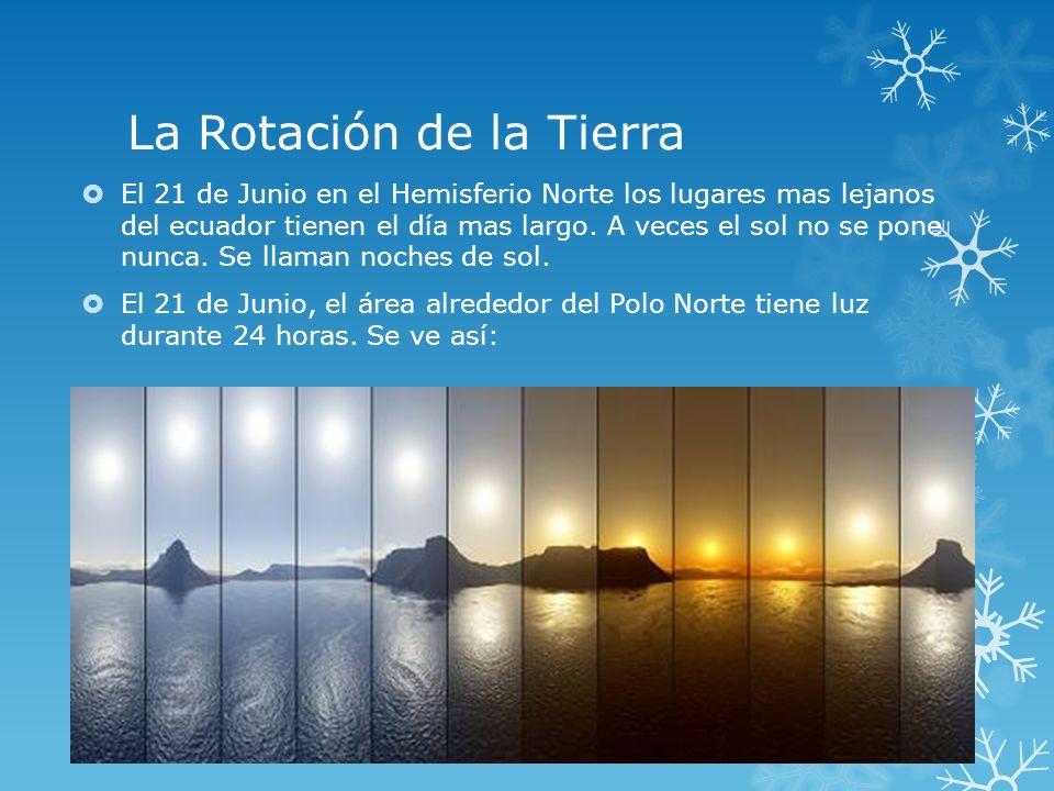 La Rotación de la Tierra En el Hemisferio sur, en los lugares mas lejanos del Ecuador, tienen las noches mas largas.