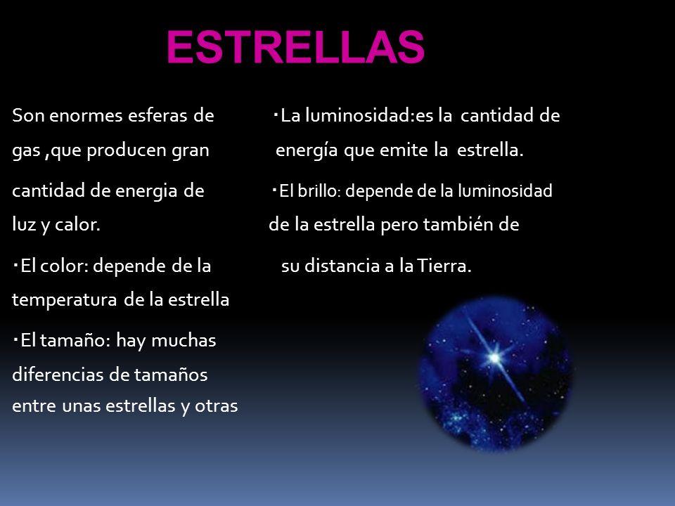 ESTRELLAS Son enormes esferas de · La luminosidad:es la cantidad de gas,que producen gran energía que emite la estrella. cantidad de energia de · El b