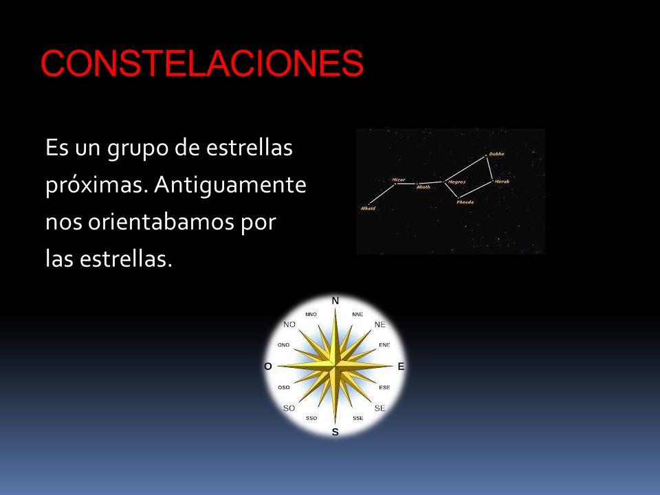 CONSTELACIONES Es un grupo de estrellas próximas. Antiguamente nos orientabamos por las estrellas.