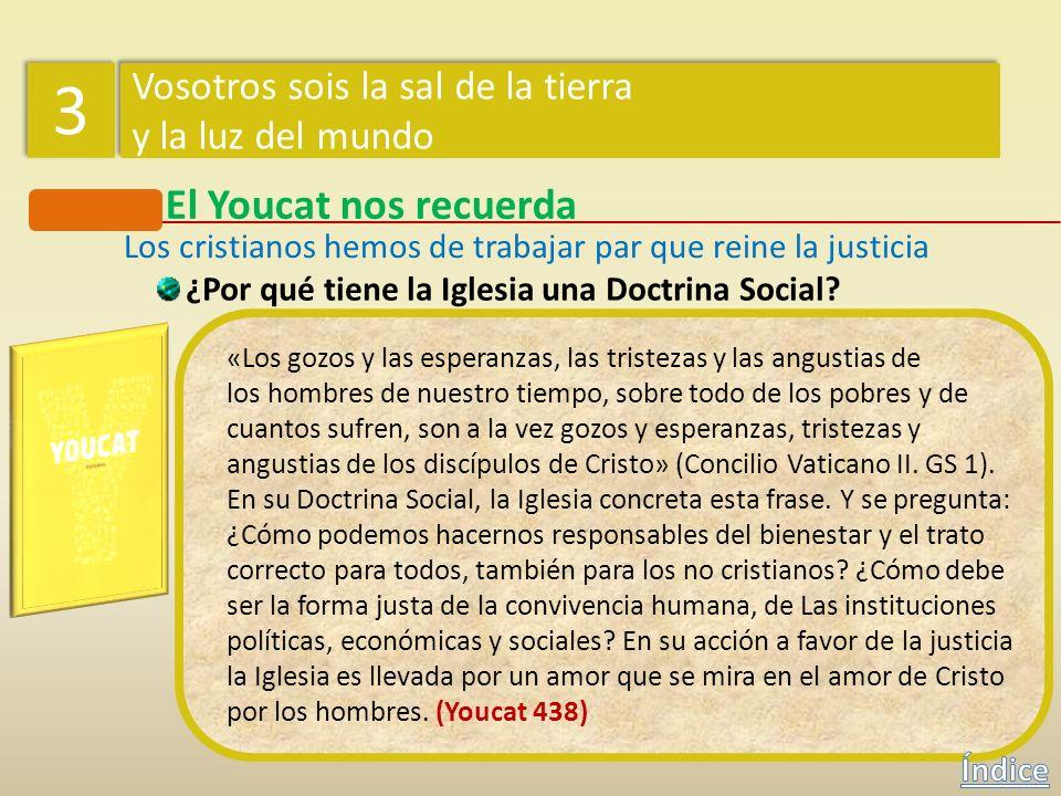 El Youcat nos recuerda ¿Por qué tiene la Iglesia una Doctrina Social? Dado que todas las personas, creadas a imagen de Dios, poseen una dignidad única
