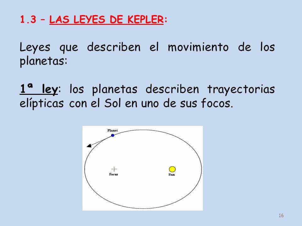 16 1.3 – LAS LEYES DE KEPLER: Leyes que describen el movimiento de los planetas: 1ª ley: los planetas describen trayectorias elípticas con el Sol en u