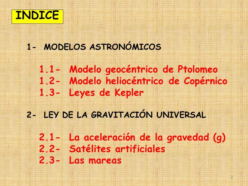 2 1- MODELOS ASTRONÓMICOS 1.1- Modelo geocéntrico de Ptolomeo 1.2- Modelo heliocéntrico de Copérnico 1.3- Leyes de Kepler 2- LEY DE LA GRAVITACIÓN UNIVERSAL 2.1- La aceleración de la gravedad (g) 2.2- Satélites artificiales 2.3- Las mareas INDICE