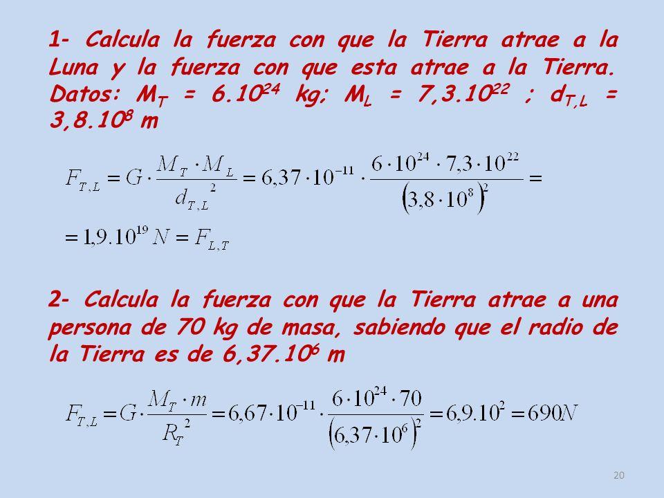 20 1- Calcula la fuerza con que la Tierra atrae a la Luna y la fuerza con que esta atrae a la Tierra. Datos: M T = 6.10 24 kg; M L = 7,3.10 22 ; d T,L