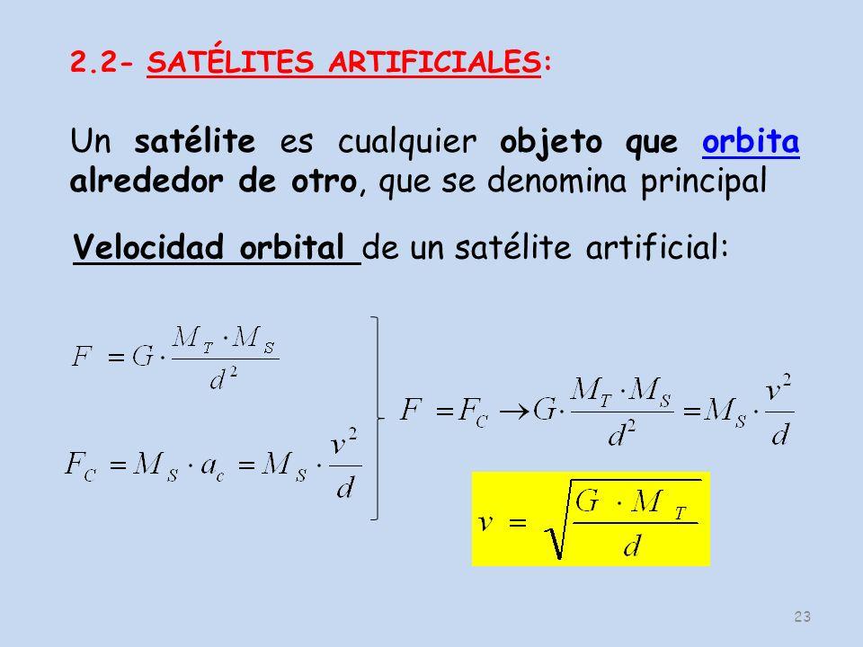 23 Velocidad orbital de un satélite artificial: 2.2- SATÉLITES ARTIFICIALES: Un satélite es cualquier objeto que orbita alrededor de otro, que se denomina principalorbita
