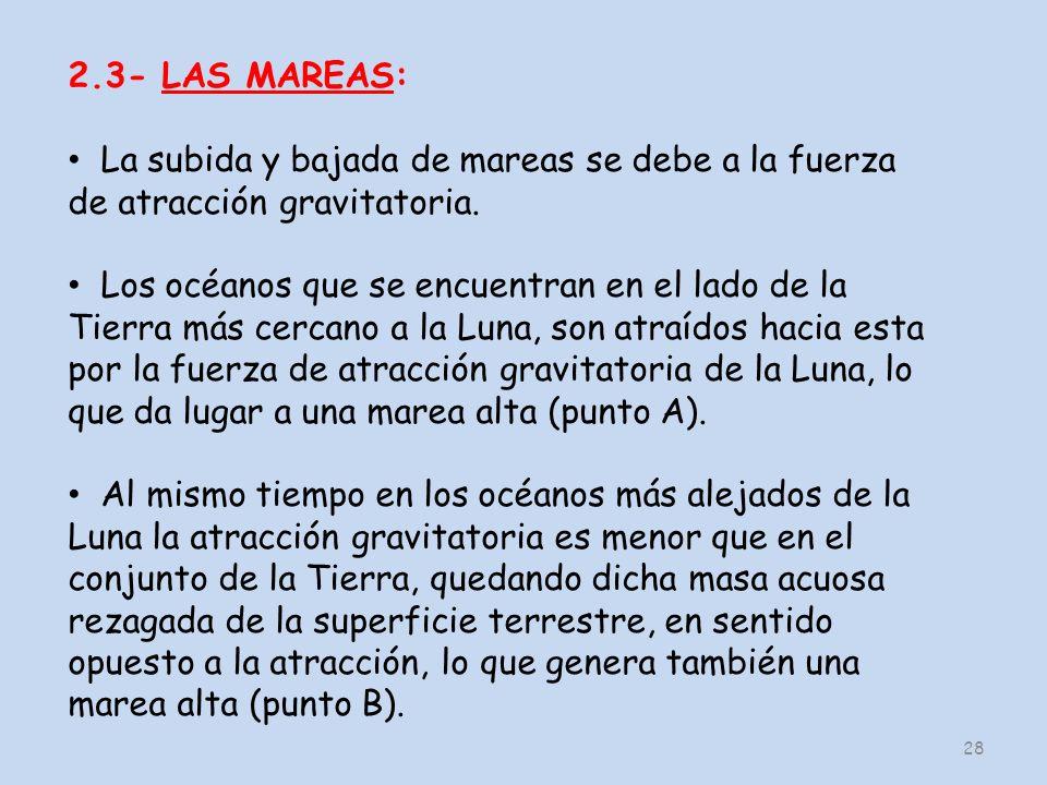 28 2.3- LAS MAREAS: La subida y bajada de mareas se debe a la fuerza de atracción gravitatoria.