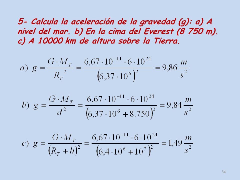 5- Calcula la aceleración de la gravedad (g): a) A nivel del mar. b) En la cima del Everest (8 750 m). c) A 10000 km de altura sobre la Tierra. 34