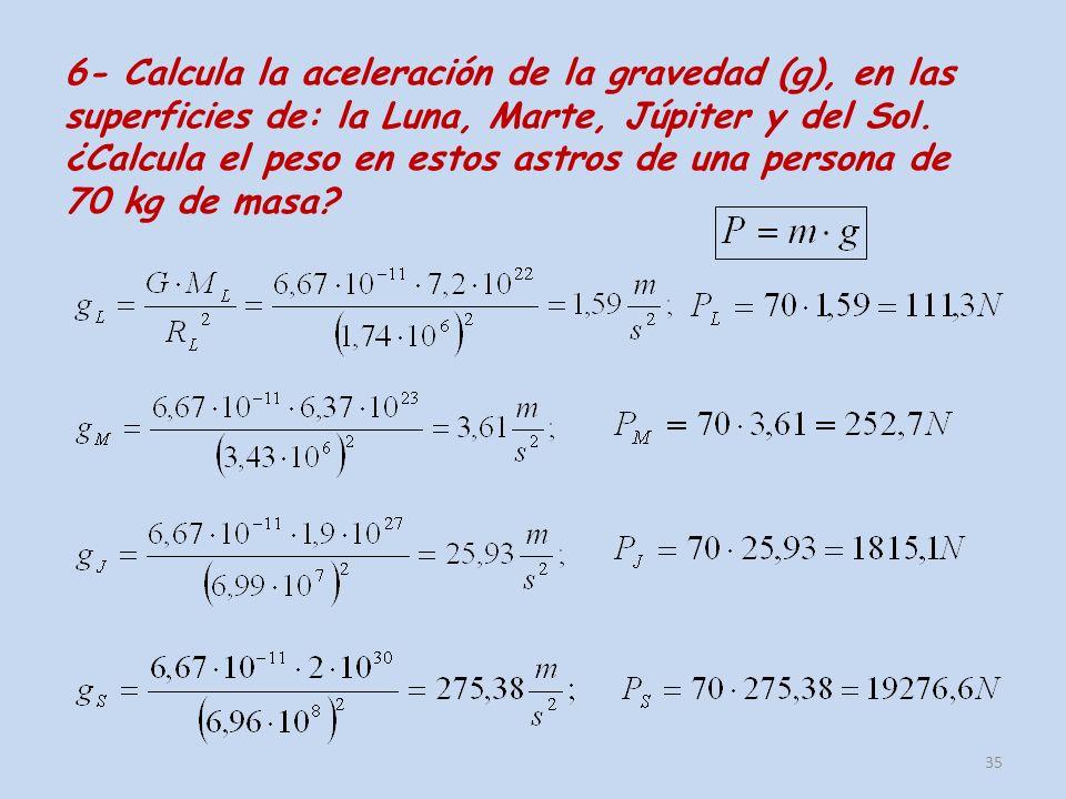 6- Calcula la aceleración de la gravedad (g), en las superficies de: la Luna, Marte, Júpiter y del Sol. ¿Calcula el peso en estos astros de una person